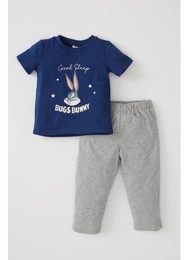 DeFacto Erkek Bebek Bugs Bunny Lisanslı Kısa Kol Pijama Takımı Lacivert